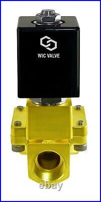 1 Inch Brass High Pressure 230 PSI Electric Solenoid Process Valve 24V DC NC