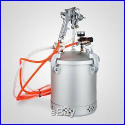 2 1/2 Gallon High Pressure Tank Pot Air Paint Spray Gun Painter 2 Hoses