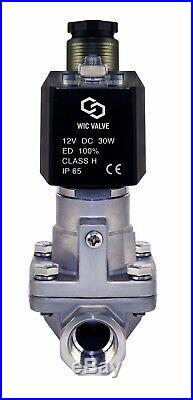 3/8 Inch High Pressure Stainless Hot Water Steam Solenoid Valve NC 12V DC PTFE