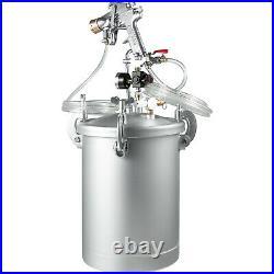 4 Gallon 2.5mm Nozzle High Pressure Pot Tank Air Paint Spray Gun Painting 2 Hose