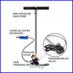 4 Stage 45000PSI Hand Air Pump High Pressure Gauge Diving Oxygen Tank Refill PCP