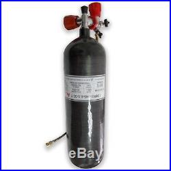 6.8L 30Mpa Black Carbon Fiber PCP Cylinder High Pressure Air Tanks Filling Kits