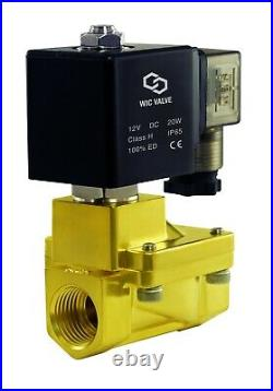 Brass High Pressure 230 PSI Electric Solenoid Process Valve 1 Inch 12V DC NC