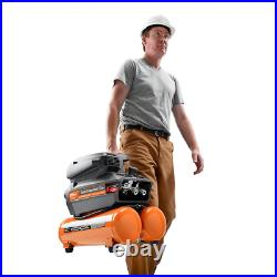 Electric Air Compressor Portable Quiet Power Cord Ergonomic 4.5 Gallon Tool Only