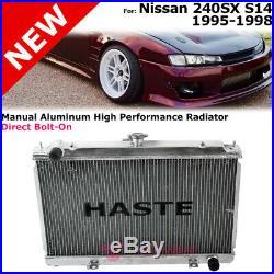 Haste Radiator For Nissan 95-98 240SX S14 Manual Aluminum High Performance