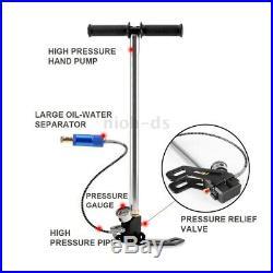 High Pressure Hand Pump Scuba Diving Oxygen Cylinder Air Tank Pump Gauge Set